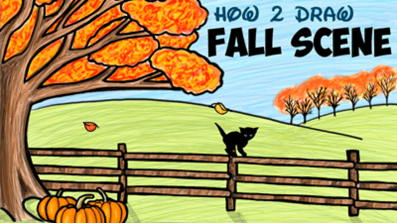 How To Draw An Autumn Fall Scene Step By Step Drawing