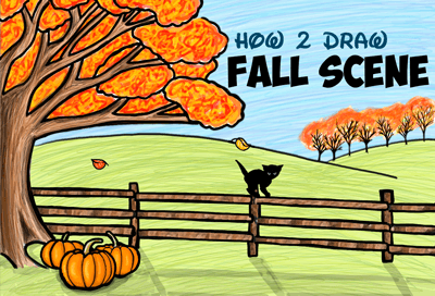 how to draw fall or autumn scene easy tutorial for children