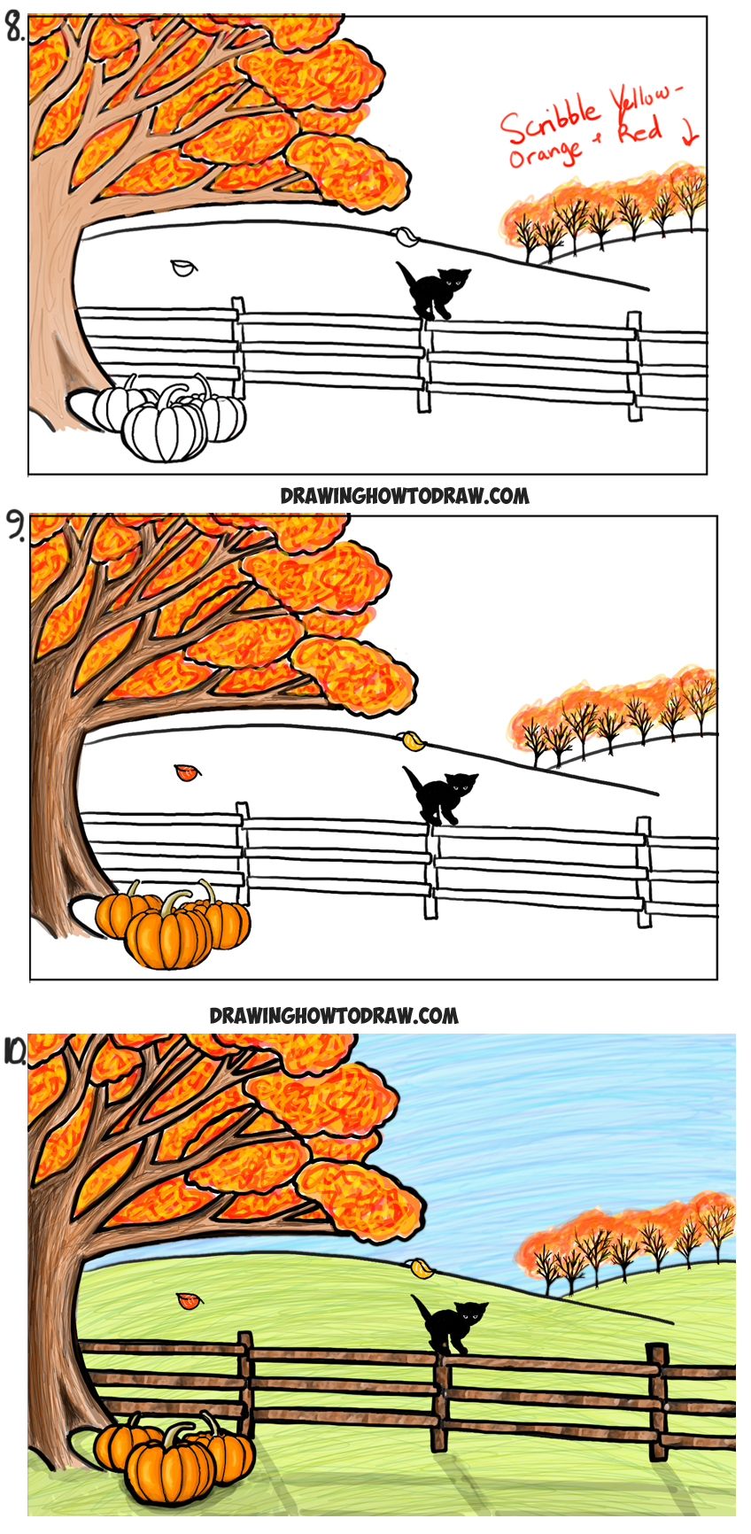 Step By Step Diagram Template: How To Draw An Autumn Fall Scene Step By Step Drawing
