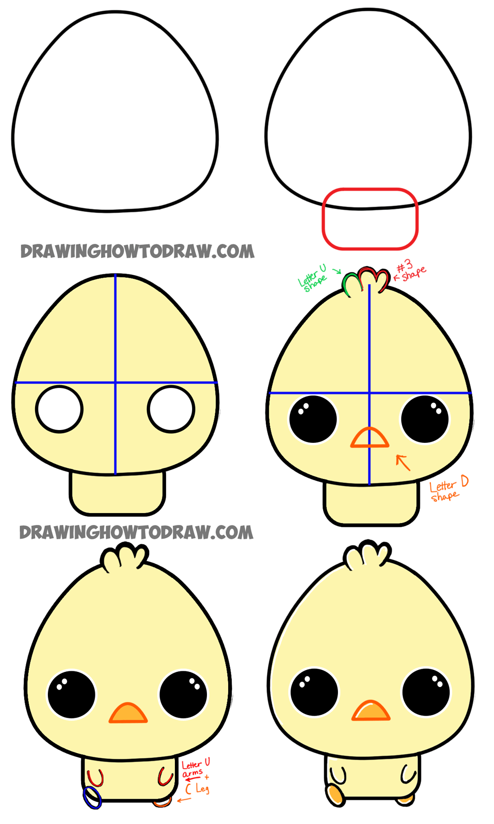 How to Draw a Cartoon Chibi Baby Chick - Easy Tutorial for ...
