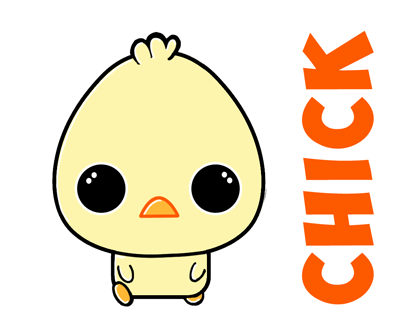 How to Draw a Cartoon Chibi Baby Chick - Simple Steps Tutorial for Kids