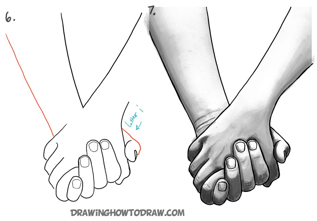 How to draw holding hands part 2