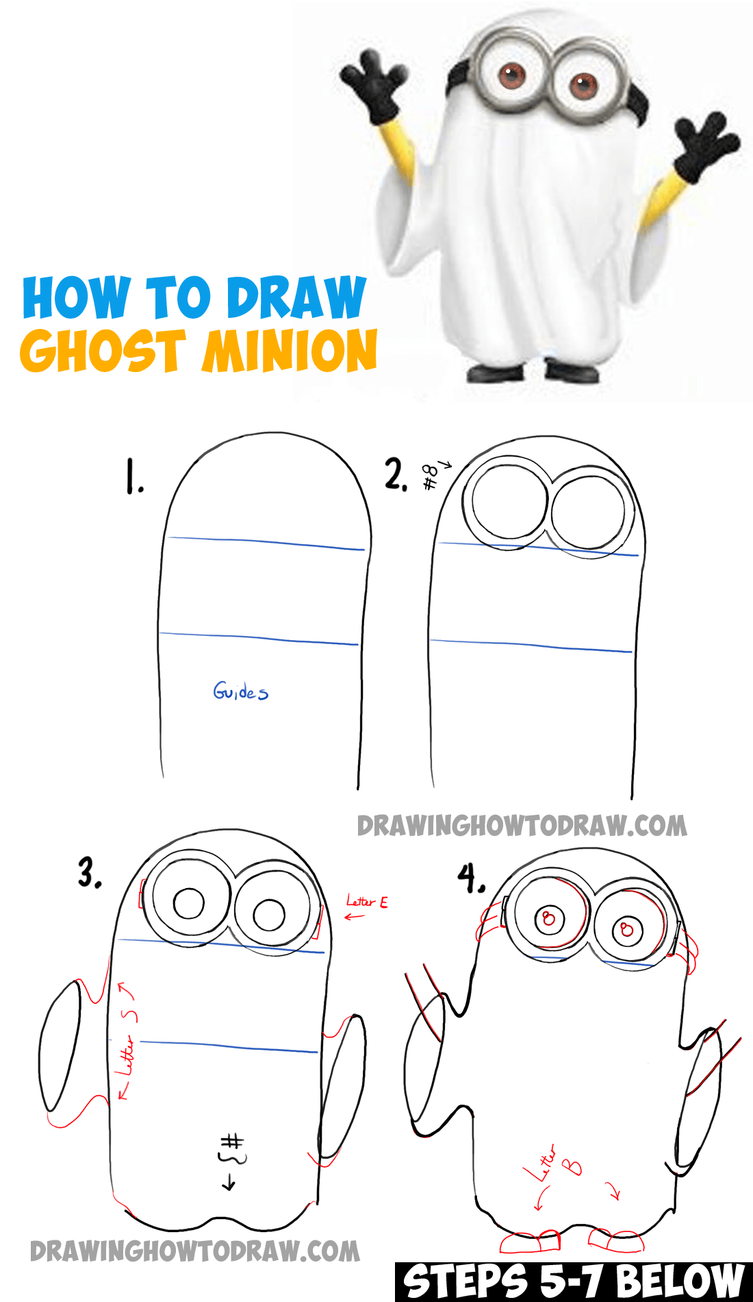 How to Draw Ghost Minions for Halloween (From The Minions Movie and Despicable Me) - Step by Step Drawing Tutorial for Kids