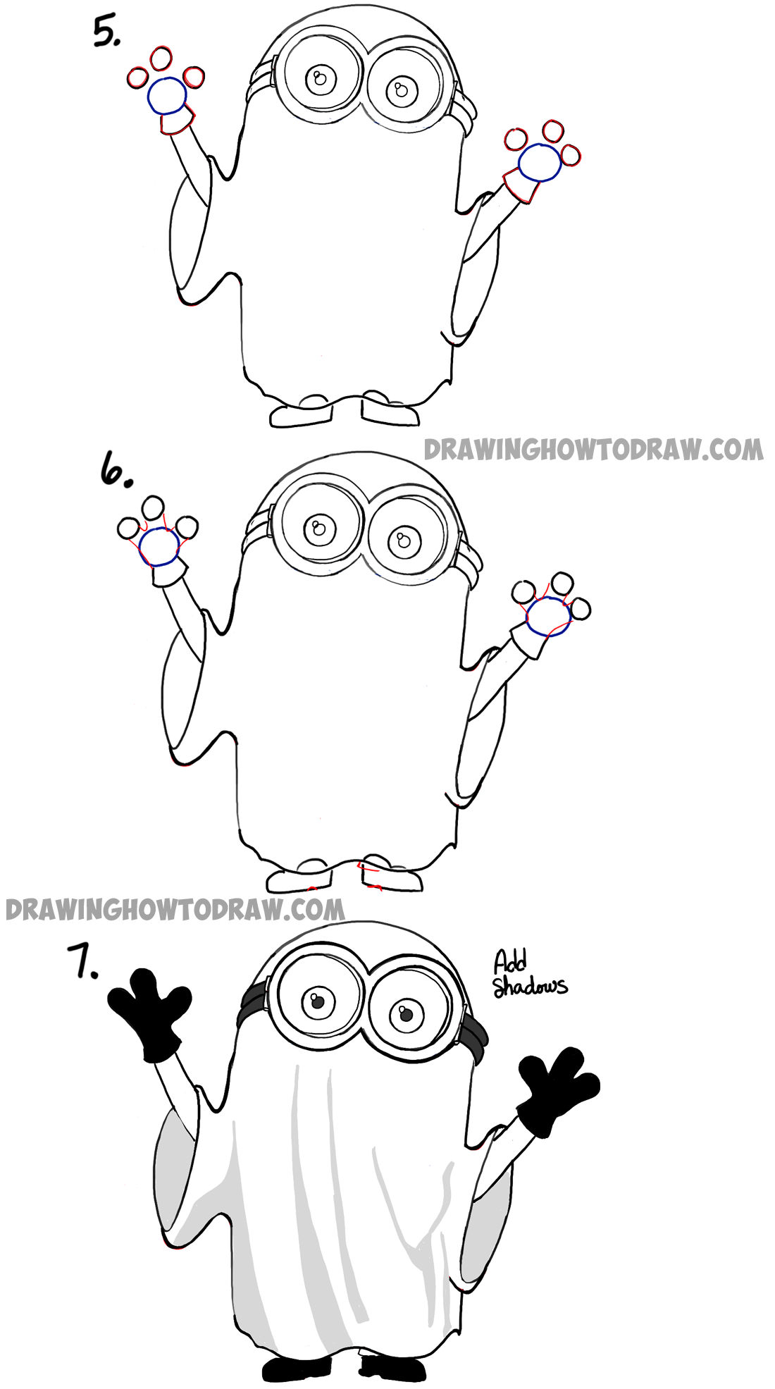 How to draw ghost minion for halloween step by step instructions