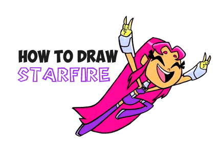 drawing starfire from teen titans go drawing tutorial