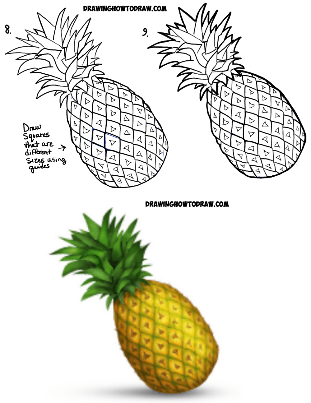 how to draw a pineapple emoji easy step by step drawing tutorial