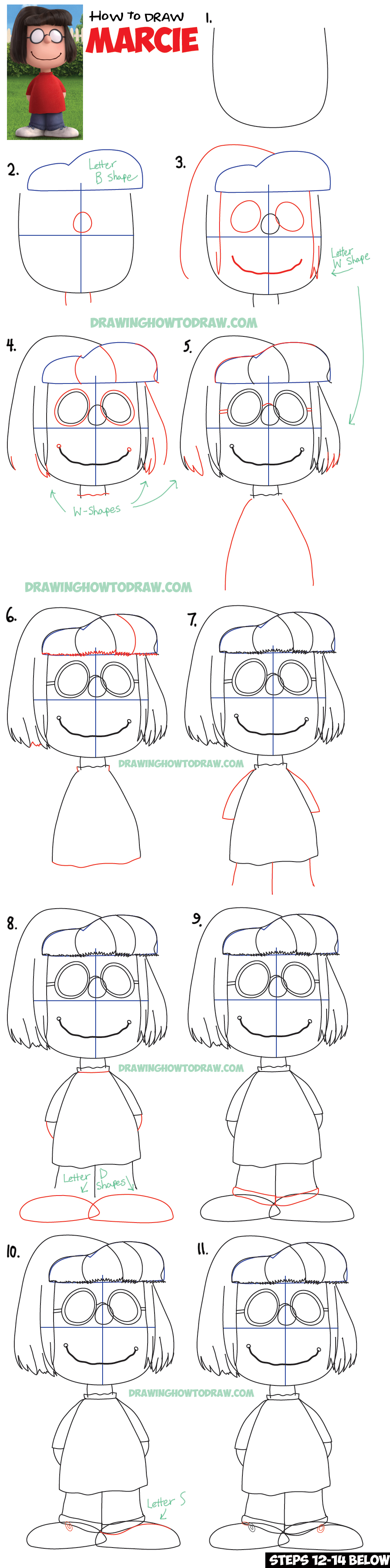 How To Draw Marcie From The Peanuts Movie Step By Step Drawing Tutorial How  To Draw