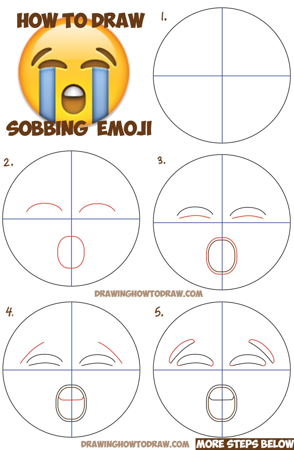 how to draw sobbing crying emoji face with easy steps