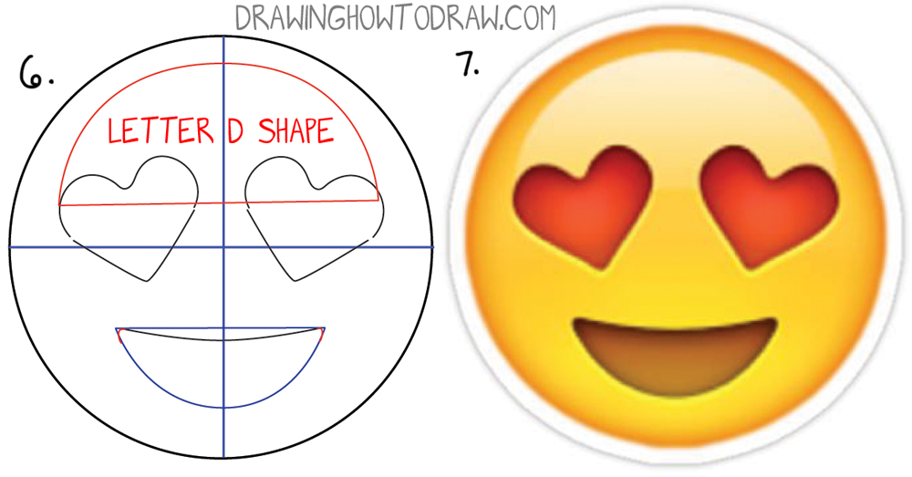 Learn how to draw heart eyed emoji face with easy steps