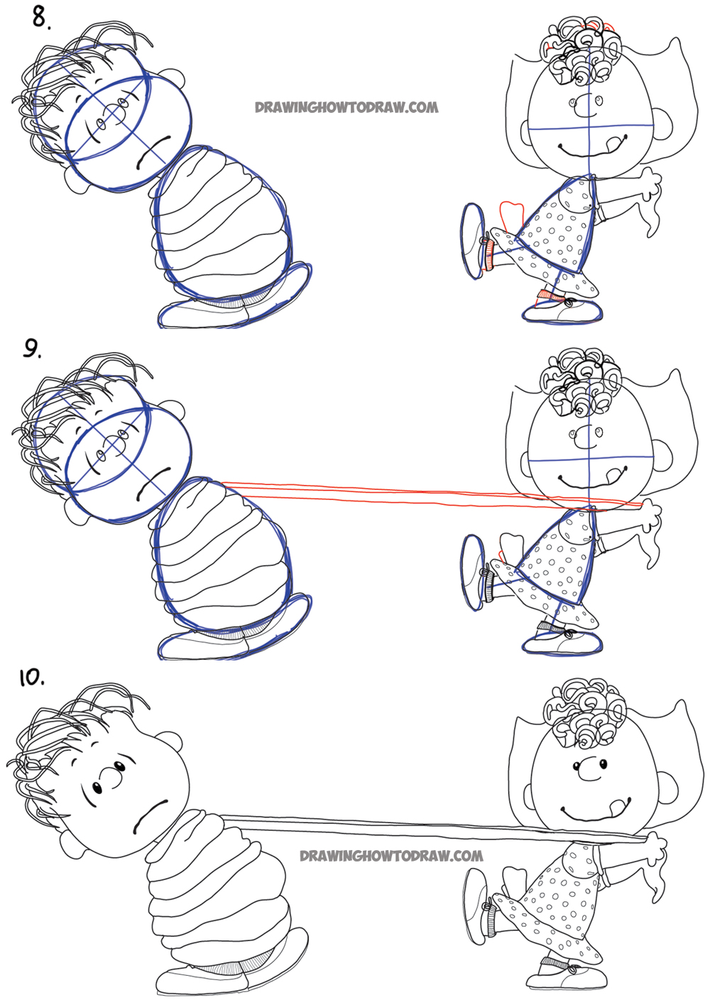 Learn how to draw linus and sally with simple step by step drawing tutorial