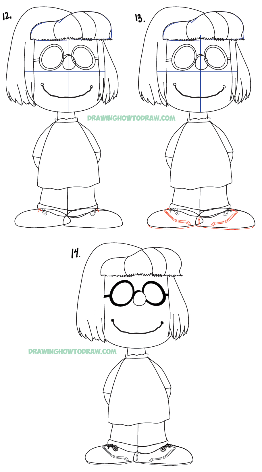 Learn how to draw Marcie from the new peanuts movie with easy steps