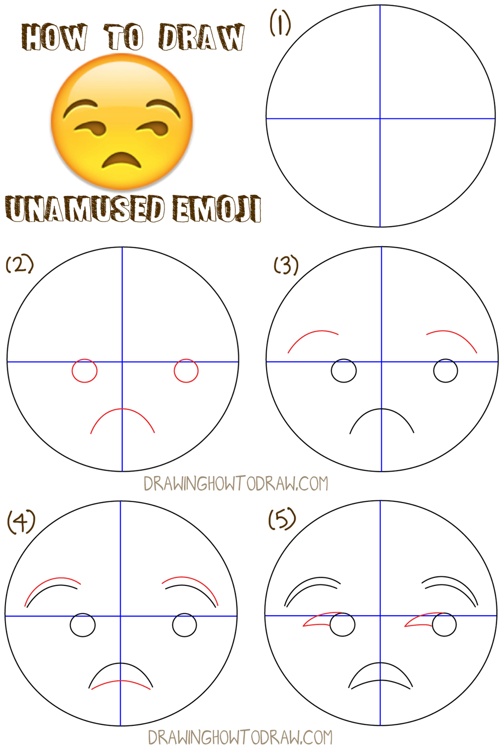 How to draw unamused emoji face or meh face with easy for Learn drawing online step by step