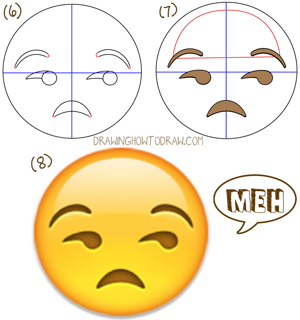 How to Draw Unamused Emoji Face or Meh Face with Simple Steps Drawing Lesson