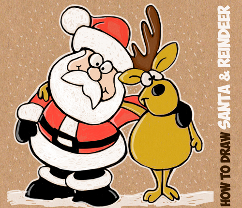 Christmas Cartoon Drawings.Christmas Drawing Lessons Archives How To Draw Step By