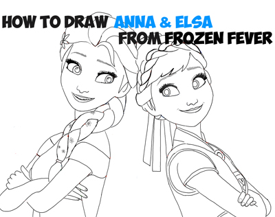 How To Draw Anna And Elsa From Disney S Frozen Fever With Easy Steps