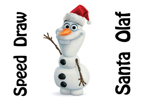 learn how to draw olaf with a santa hat