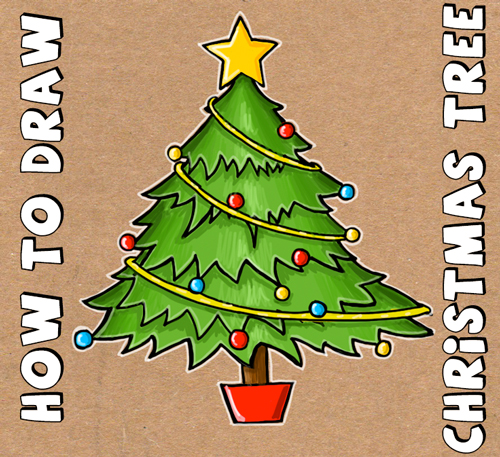Easy To Draw Christmas Tree.How To Draw A Christmas Tree With Simple Step By Step