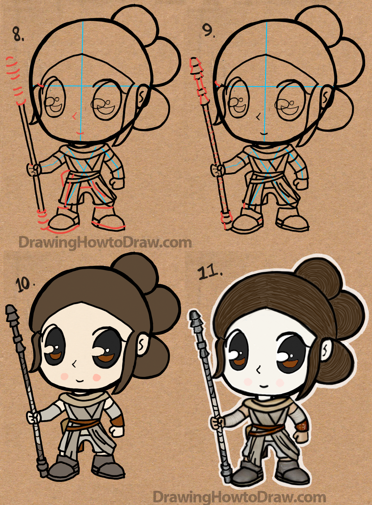 How to Draw Cartoon Chibi Rey from Star Wars The Force Awakens Drawing Tutorial