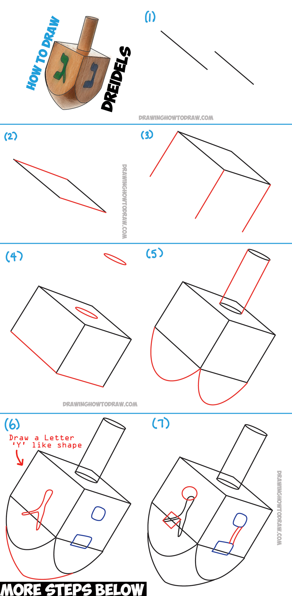 How to Draw a Dreidel for Hanukkah (Chanukah) with Simple Steps Lesson for Kids