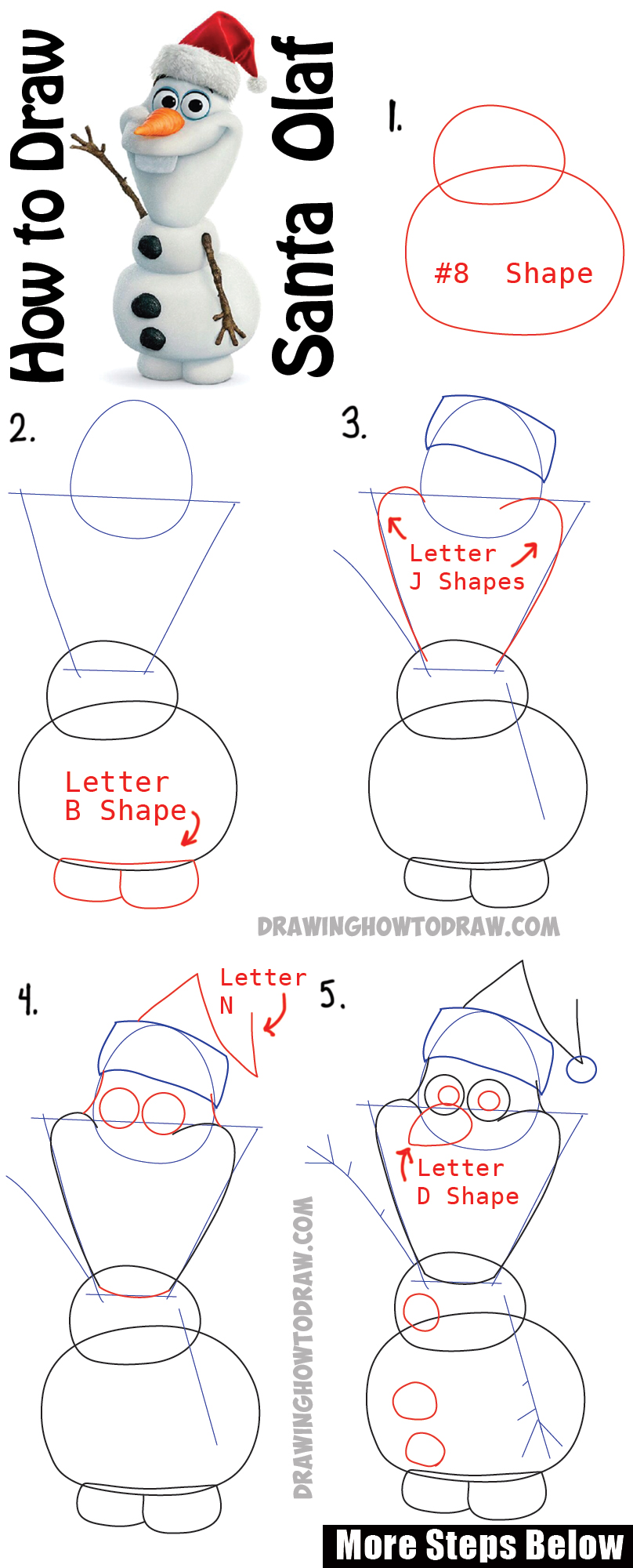 Uncategorized How To Draw Olaf Easy how to draw olaf with santa claus hat on step by drawing tutorial