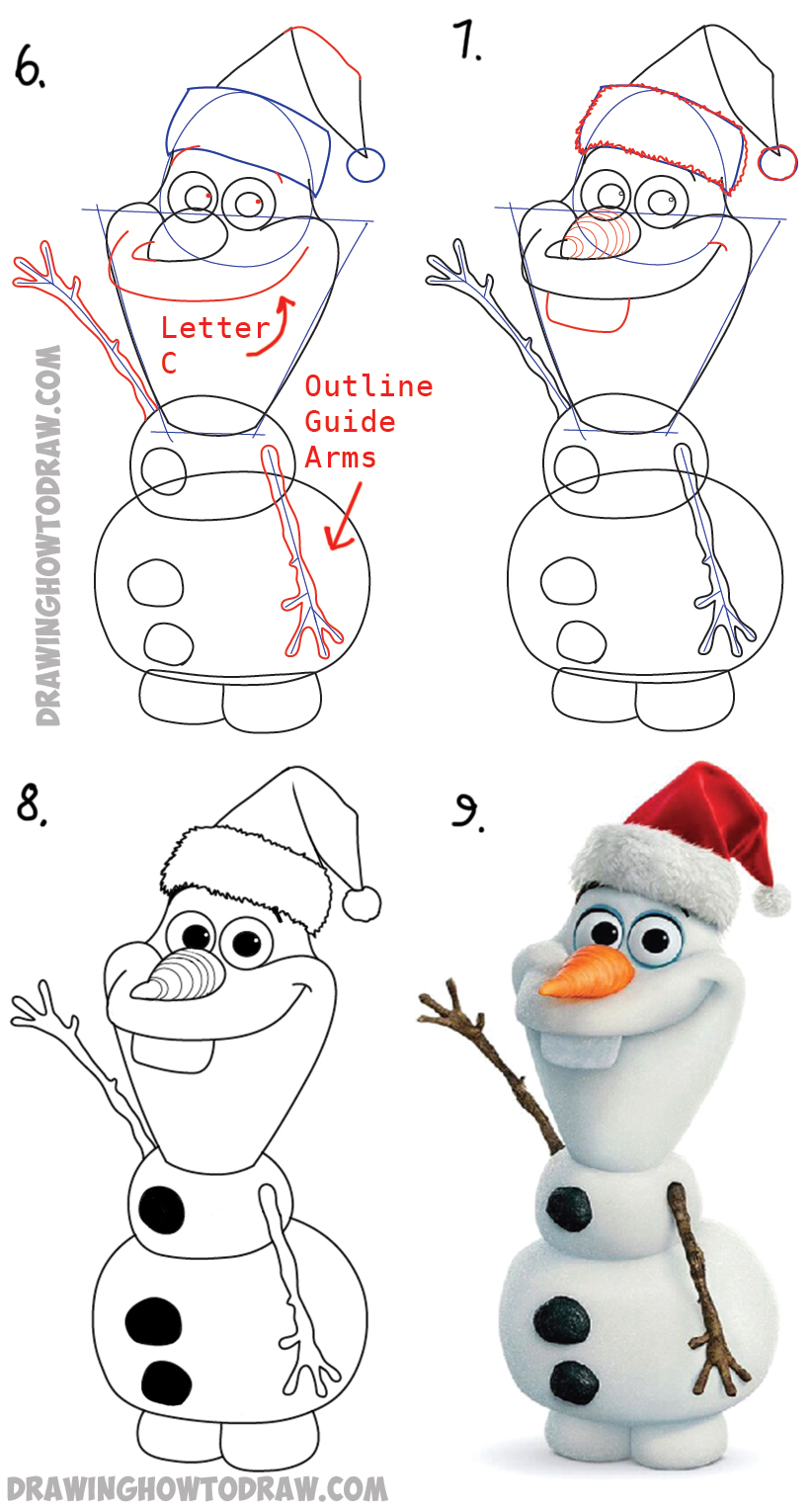 Step By Step Diagram Template: How To Draw Olaf With Santa Claus Hat On Step By Step