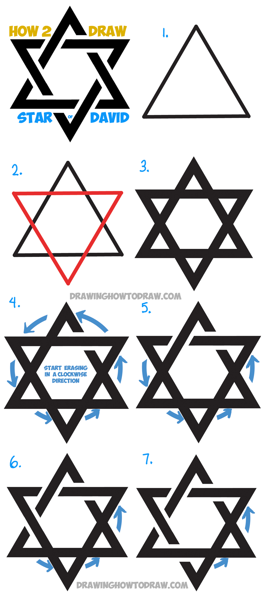 How to Draw the Star of David (The Jewish Star) with Fancy Interlocking Triangles