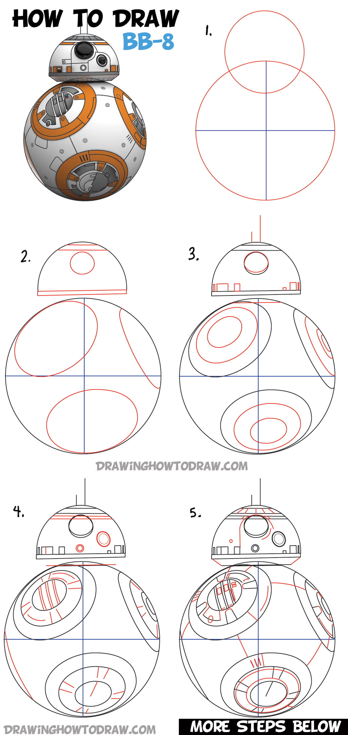 Step By Step Diagram Template: How To Draw BB-8 (Beeby-Ate) Droid From Star Wars Drawing