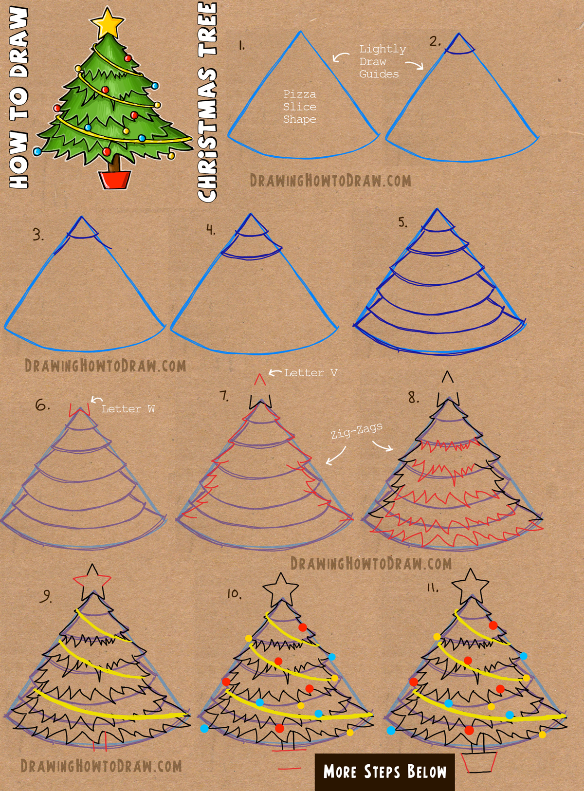 How To Draw A Christmas Tree With Simple Step By Step Tutorial How