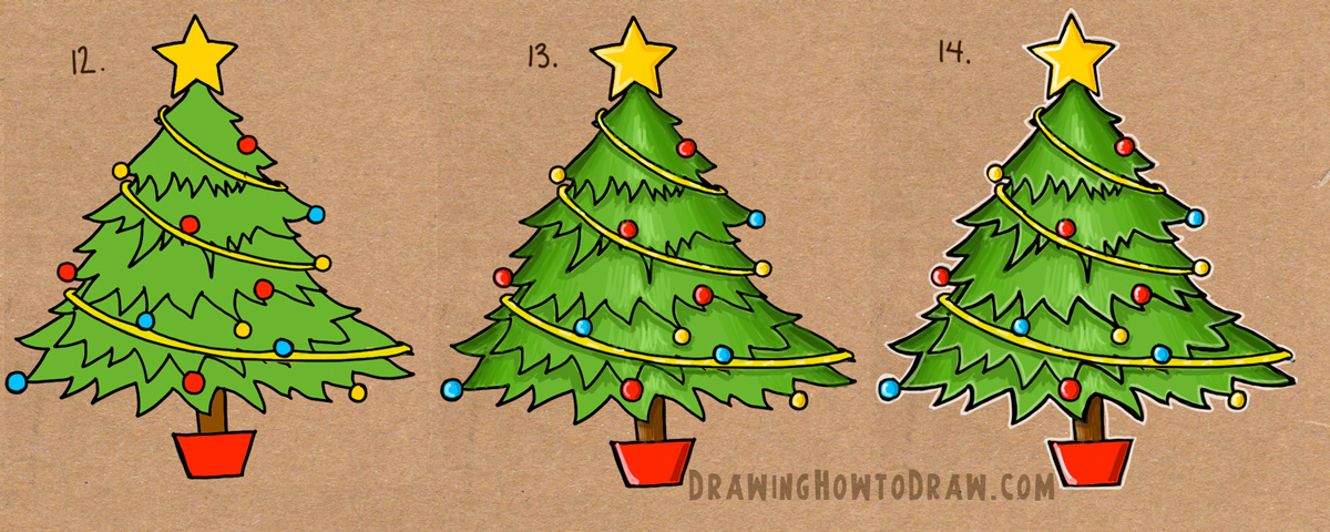 how to draw a cartoon christmas tree with ornaments, tinsel, and star