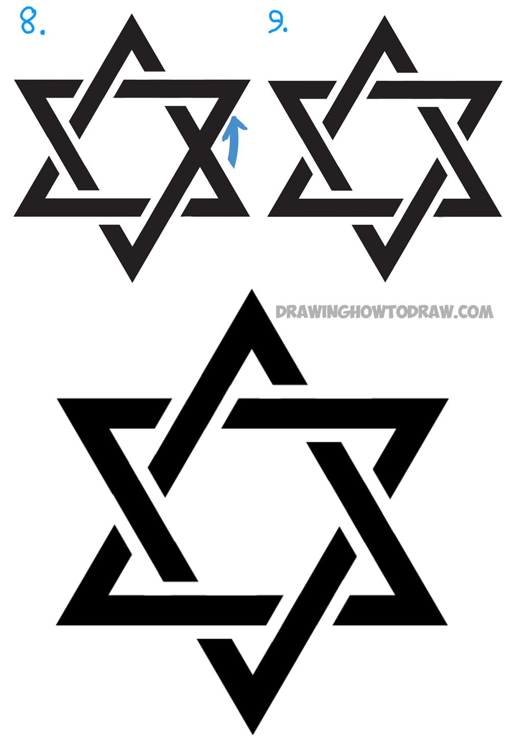 learn how to draw a jewish star with easy steps instructions