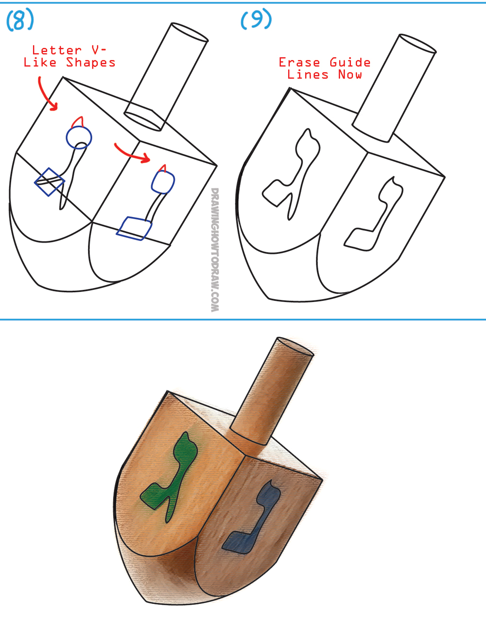 drawing step by step instructions for dreidels for hanukkah