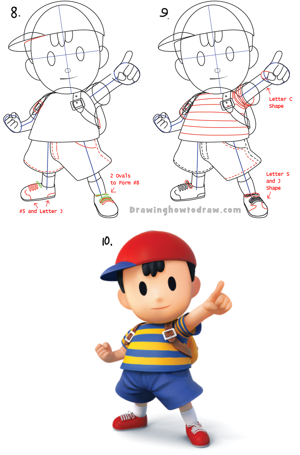 How to Draw Ness from Super Smash Bros with Simple Step by Step Drawing Lesson