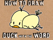 how to draw baby cartoon duck with the word duck easter drawing tutorial for children
