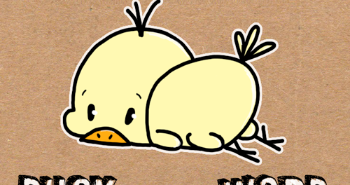 How to draw baby cartoon duck with the word duck easy for Easy spring pictures to draw