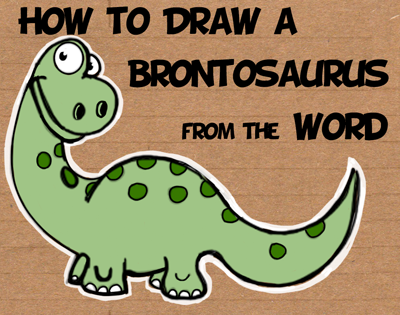 how to draw a cartoon brontosaurus from the word easy steps tutorial for children