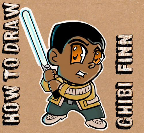 How to draw chibi cartoon finn from star wars