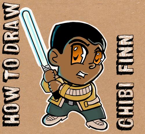 How to draw chibi cartoon finn from star wars