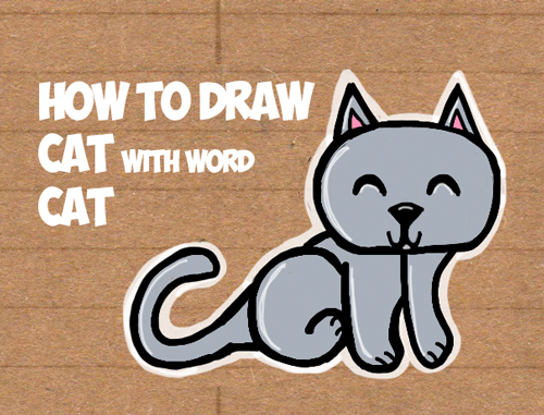 how to draw a cute cartoon cat from the word cat