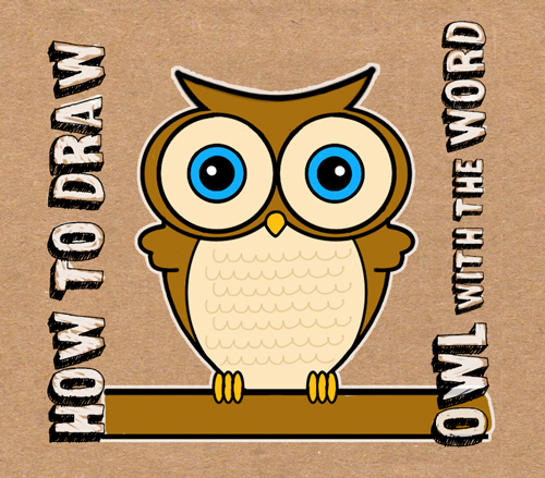 how to draw owl with word owl