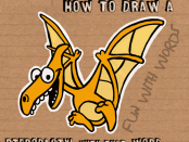 how to draw cartoon pterodactyls word fun drawing tutorial for kids