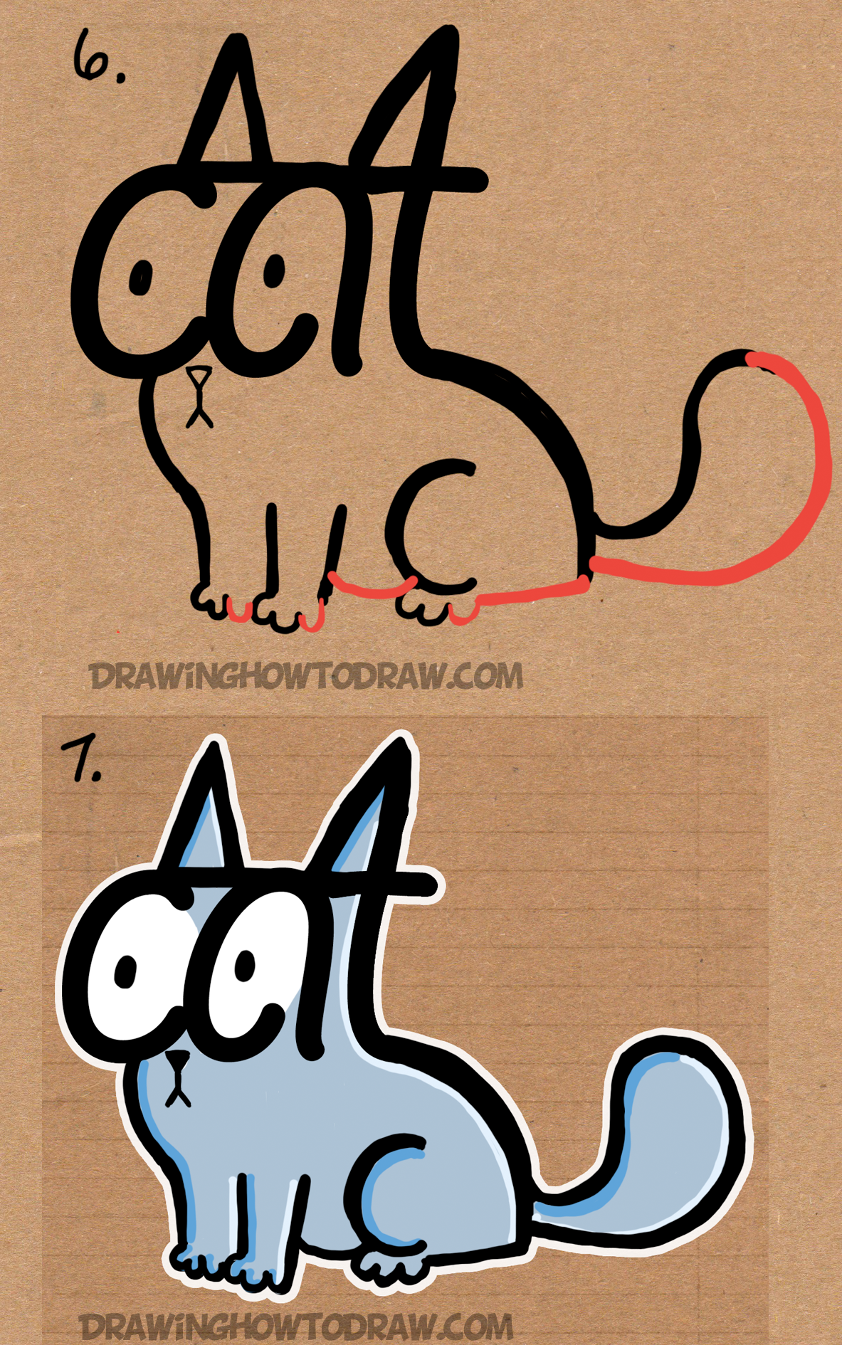 How to Draw a Cartoon Cat Using the Word CAT Easy Steps Tutorial for Kids