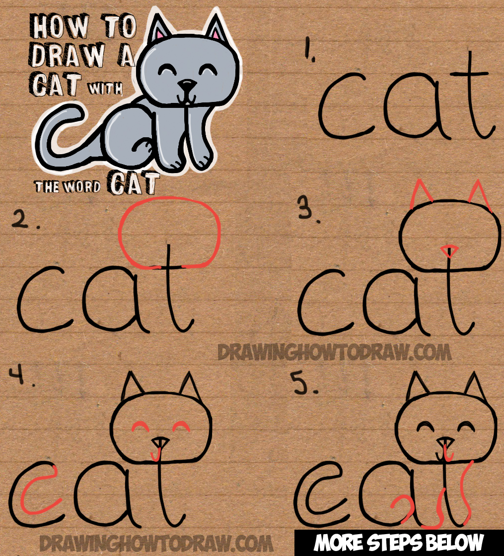Drawing Lines With Word : How to draw a cat from the word easy drawing tutorial