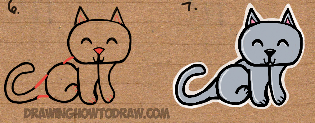 How to Draw cartoon cat with easy steps