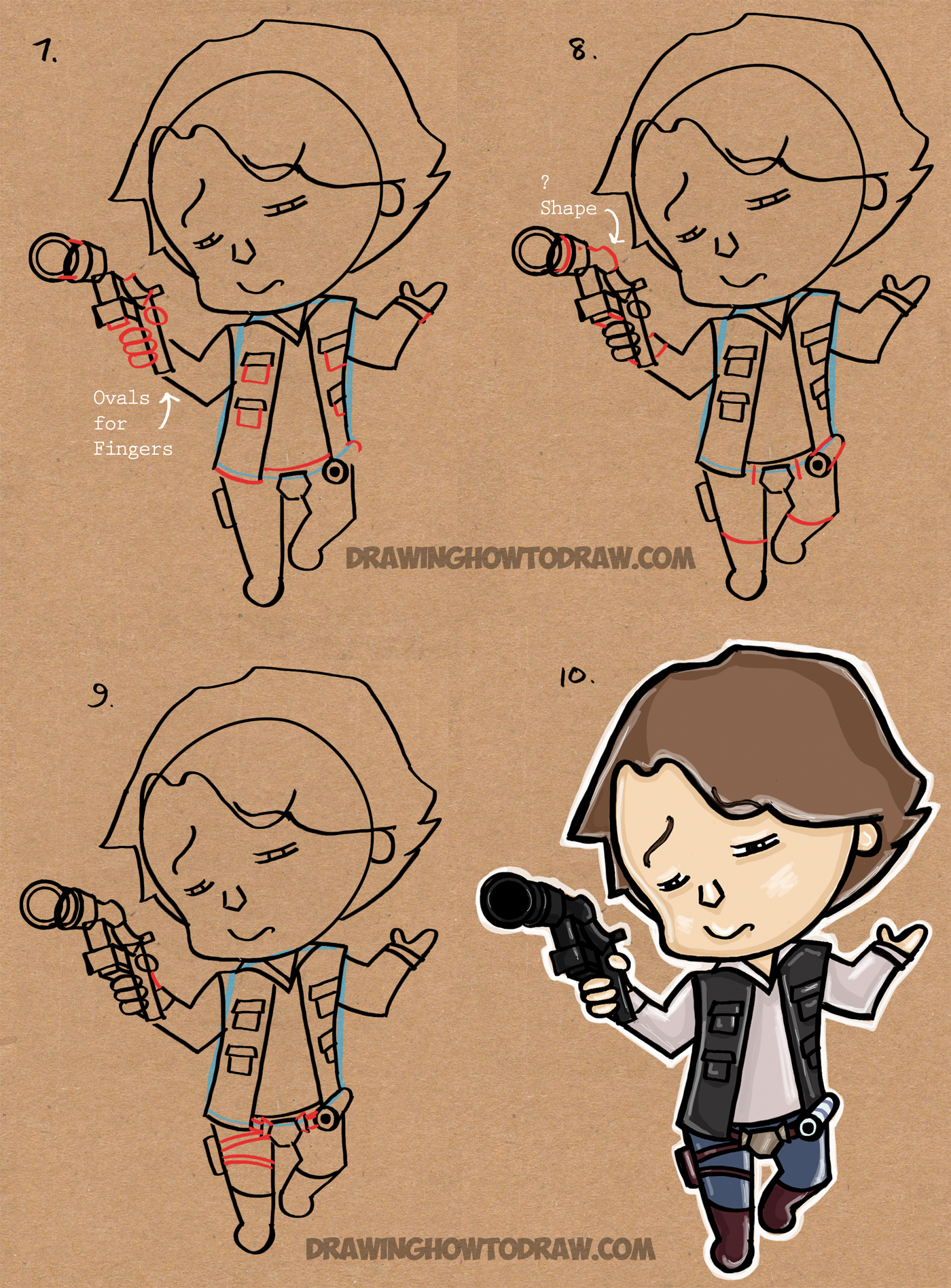 How to Draw Chibi Han Solo from Star Wars The Force Awakens