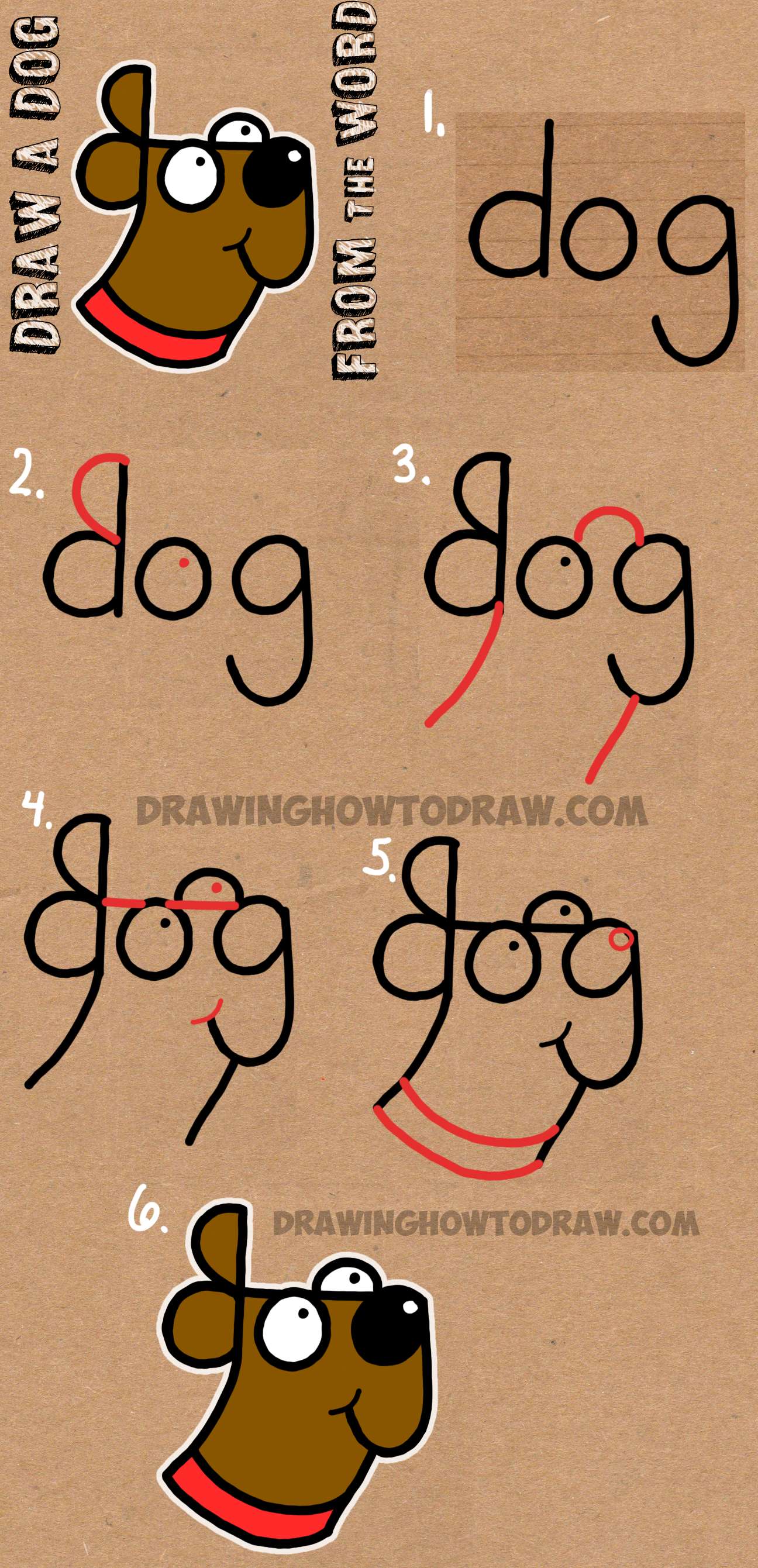 Drawing Lines With Word : How to draw a dog from the word easy step by