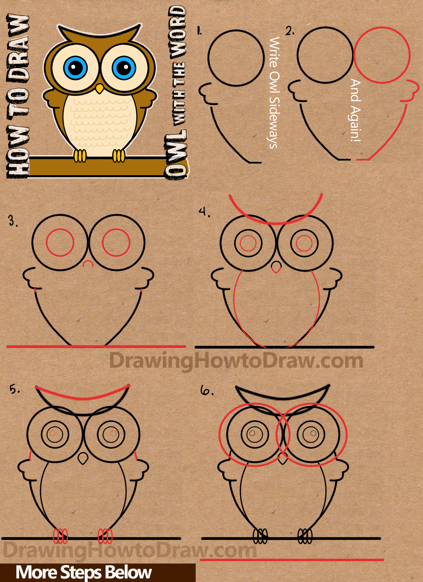 Drawing Lines With Word : How to draw a cartoon owl from word drawing tutorial