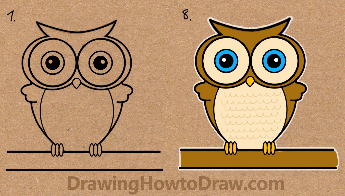 How to Draw Cartoon Owls fromthe Word Owl Simple Step by Step Drawing Tutorial for Kids