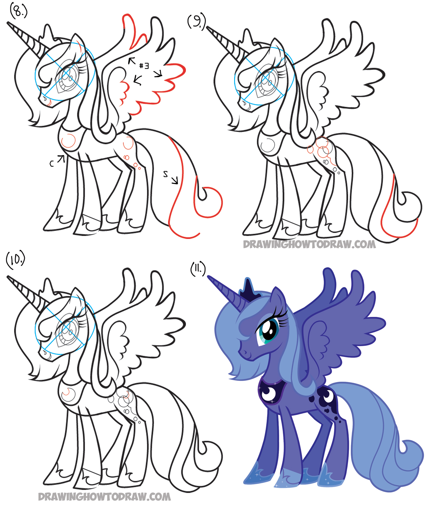 learn how to draw princess luna from my little pony friendship is magic simple steps
