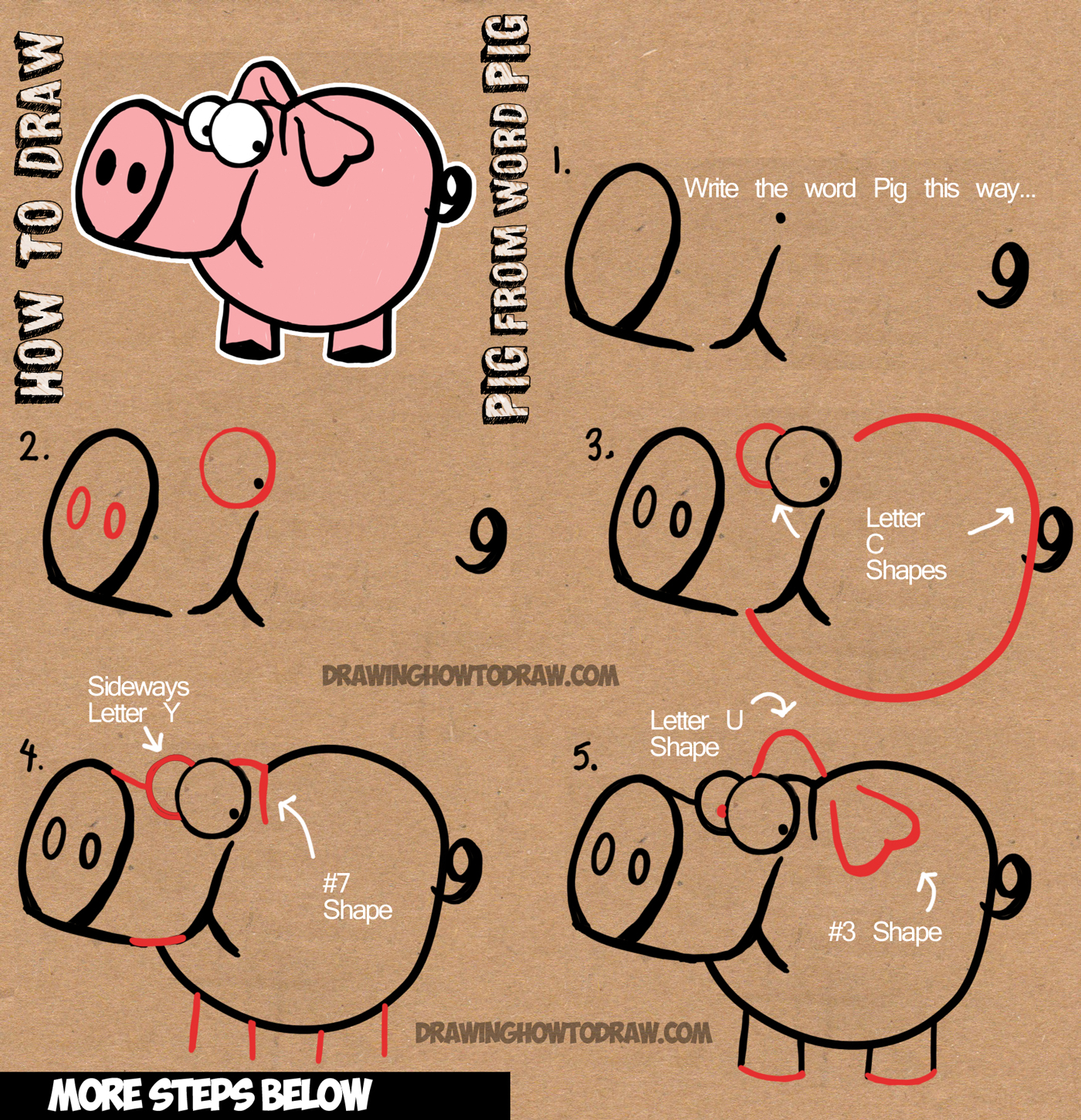 How to Draw Cartoon Pig with the Word Pig Step by Step Drawing Tutorial for Children