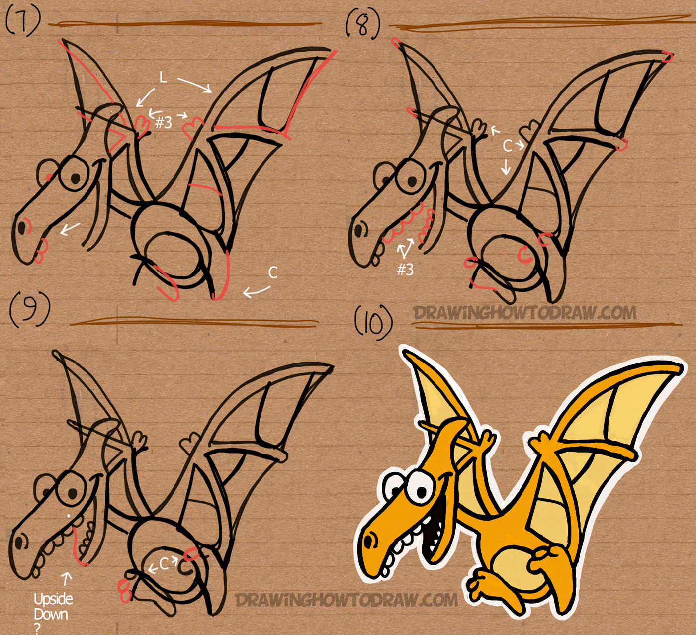 How to Draw Cartoon Pterodactyls Using the Word Step by Step Drawing Tutorial